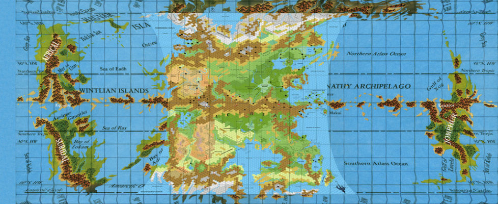 Fully corrected Hollow World map, with hex maps overlaid