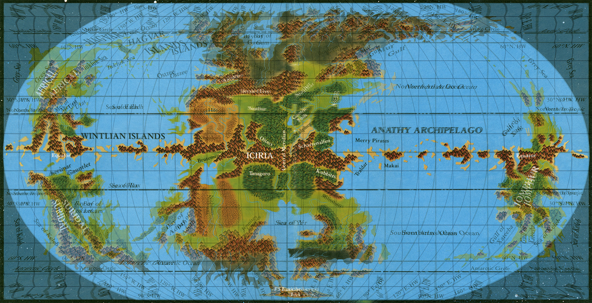Equirectangular World Map On Top Of Pseudo Robinson Note How The Grid