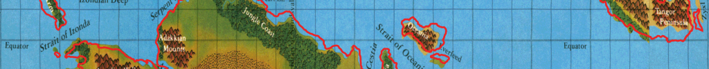 Master Set coastlines (in red) with Hollow World Set map squashed to fit
